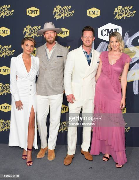 Brittney Marie Cole Brian Kelley Tyler Hubbard and Hayley Stommel attend the 2018 CMT Music Awards at Bridgestone Arena on June 6 2018 in Nashville...