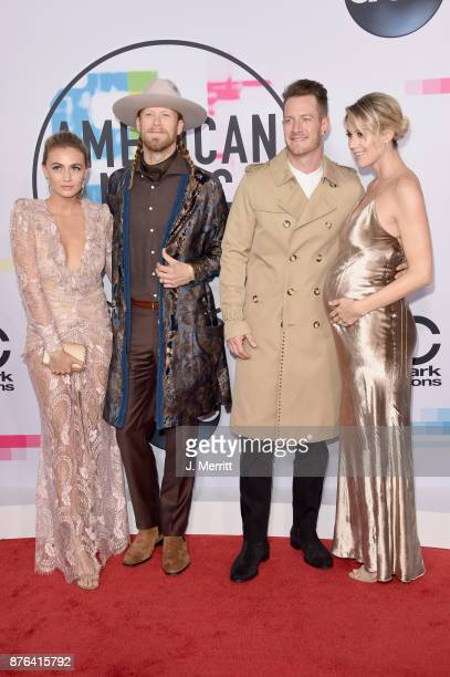 Brittney Marie Cole Brian Kelly Tyler Hubbard and Hayley Stommel attend 2017 American Music Awards at Microsoft Theater on November 19 2017 in Los...