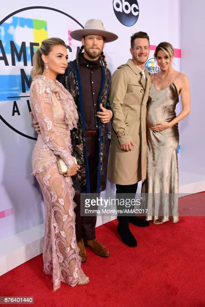 Brittney Marie Cole Florida Georgia Line's Brian Kelley and Tyler Hubbard and Hayley Stommel attend the 2017 American Music Awards at Microsoft...