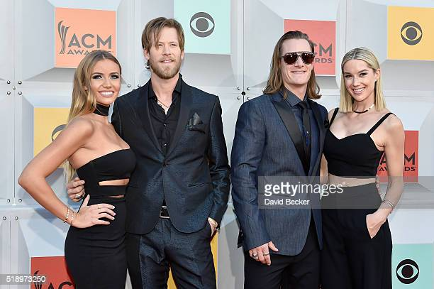 Brittney Marie Cole Kelley recording artists Brian Kelley and Tyler Hubbard of Florida Georgia Line and Hayley Stommel attend the 51st Academy of...