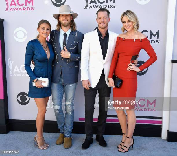 Brittney Marie Cole recording artists Brian Kelley and Tyler Hubbard of music group Florida Georgia Line and Hayley Stommel attend the 52nd Academy...