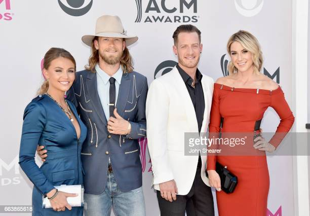 Brittney Marie Cole singers Brian Kelley and Tyler Hubbard of music group Florida Georgia Line and Hayley Stommel attend the 52nd Academy Of Country...