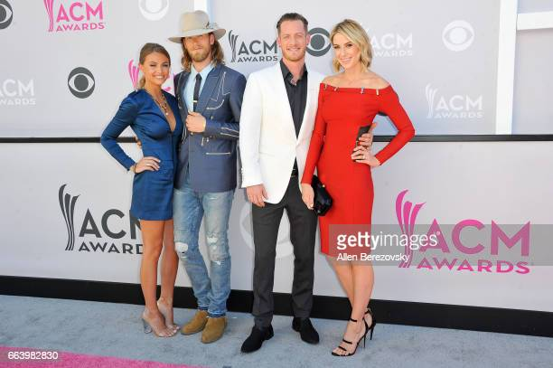 Brittney Marie Cole singers Brian Kelley and Tyler Hubbard of music group Florida Georgia Line and Hayley Stommel attend at the 52nd Academy Of...
