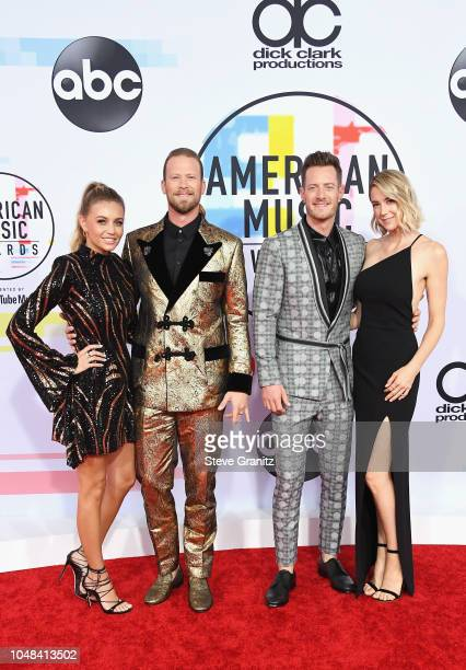 Brittney Marie Kelley Brian Kelley and Tyler Hubbard Florida Georgia Line and Hayley Hubbard attends the 2018 American Music Awards at Microsoft...