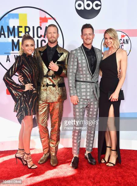 Brittney Marie Kelley Brian Kelley and Tyler Hubbard of Florida Georgia Line and Hayley Hubbard attend the 2018 American Music Awards at Microsoft...