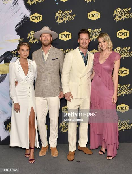 Brittney Marie Kelley Brian Kelley and Tyler Hubbard of Florida Georgia Line and Hayley Hubbard attend the 2018 CMT Music Awards at Bridgestone Arena...