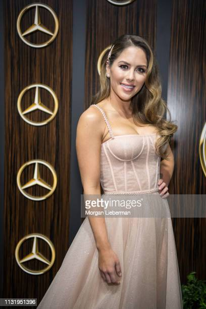 Brittney Palmer arrives at the MercedesBenz USA's Oscars Viewing Party at Four Seasons Hotel Los Angeles at Beverly Hills on February 24 2019 in Los...