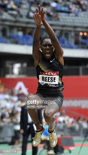 Brittney Reese competes in the women's long jump event of the Paris IAAF Diamond League meeting on July 16, 2010 at the Stade de France in...