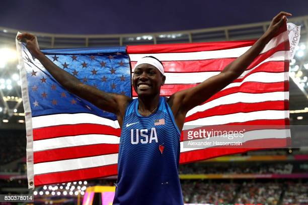 Brittney Reese of the United States celebrates after winning gold in the women's long jump final during day eight of the 16th IAAF World Athletics...