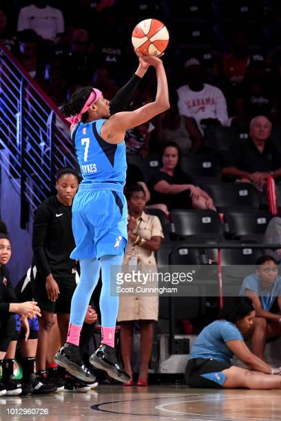 Brittney Sykes of the Atlanta Dream shoots the ball during the game against the Las Vegas Aces on August 07 2018 at McCamish Pavilion in Atlanta...