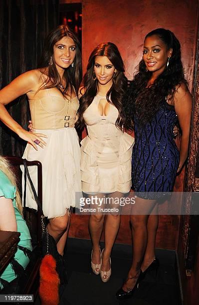 Brittny Gastineau Kim Kardashian and Lala Anthony attend Kim Kardashian's bachelorette dinner at TAO Bistro at the Venetian on July 23 2011 in Las...