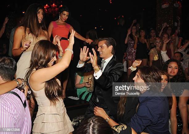 Brittny Gastineau Kim Kardashian Kourtney Kardashian Scott Disick and Jonathan Cheban celebrate Kim Kardashian's bachelorette party at TAO Nightclub...