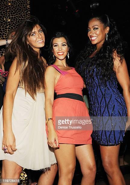 Brittny Gastineau Kourtney Kardashian and Lala Anthony celebrate Kim Kardashian's bachelorette party at TAO Nightclub at the Venetian on July 23 2011...