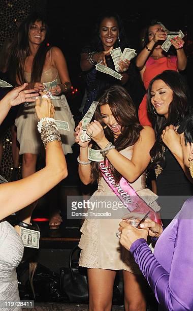 Brittny Gastineau Lala Anthony Kim Kardashian Kourtney Kardashian and Carla DiBello celebrate Kim Kardashian's bachelorette party at TAO Nightclub at...