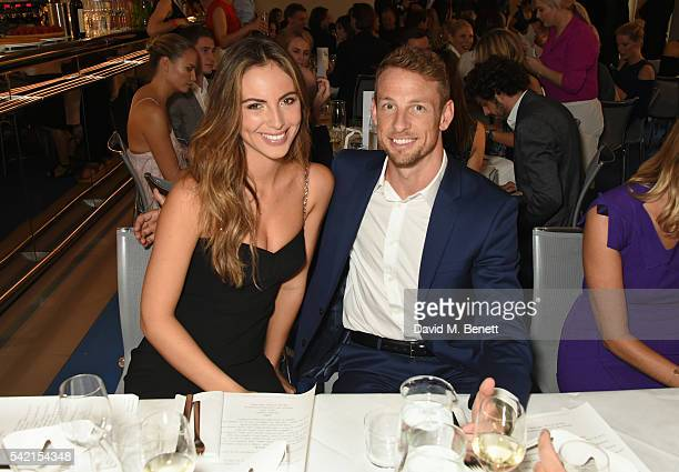 Brittny Ward and Jenson Button attend a private dinner hosted by Michael Kors to celebrate the new Regent Street Flagship store opening at The River...