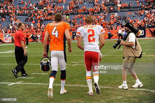 Britton Colquitt of the Denver Broncos and Dustin Colquitt of the Kansas City Chiefs run off the field at the end of the game The Denver Broncos...