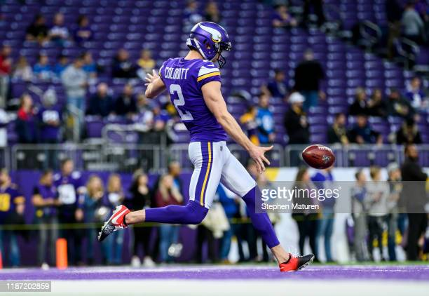 Britton Colquitt of the Minnesota Vikings warms up before the game against the Detroit Lions at US Bank Stadium on December 8 2019 in Minneapolis...