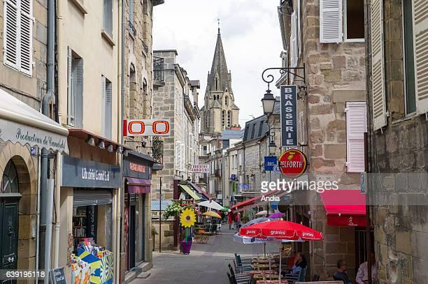 BriveLaGaillarde 'rue du LieutenantColonel Farro' street In the background the collegiate church St Martin