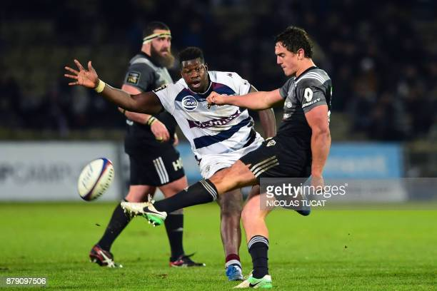 Brive's French flyhalf Thomas Laranjeira kicks the ball during the French Top 14 rugby union match between BordeauxBegles and Brive on November 25 at...