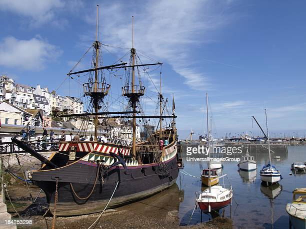 Brixham Devon UK Fullsized replica of the ship the Golden Hind in which Drake circumnavigated the globe visitors can go on board