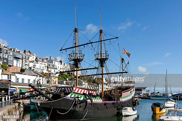 brixham harbour, devon - golden hind ship stock photos and pictures