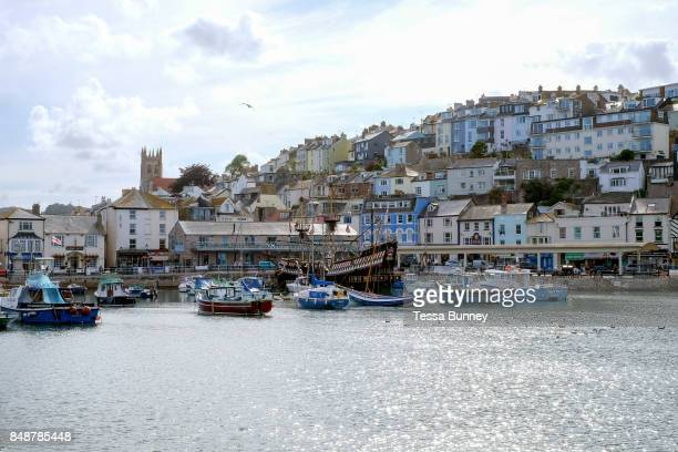 Brixham harbour on 25 July 2017 in Devon United Kingdom Brixham is a small fishing town in the English Riviera in south Devon