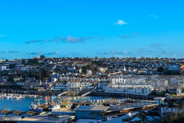 brixham harbour - town stock pictures, royalty-free photos & images