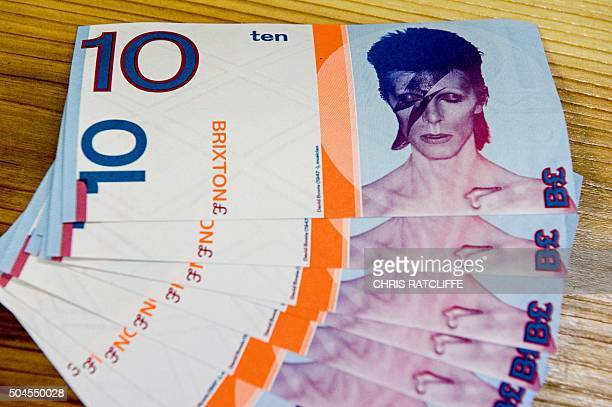 Brixton pound notes a local currency introduced for use only in the south London borough of Brixton are displayed for a photograph in Brixton on...