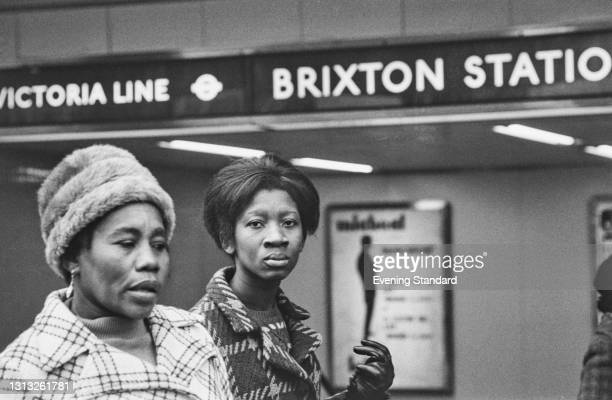 Brixton Station on the Victoria Line in Brixton, south London, UK, February 1973.