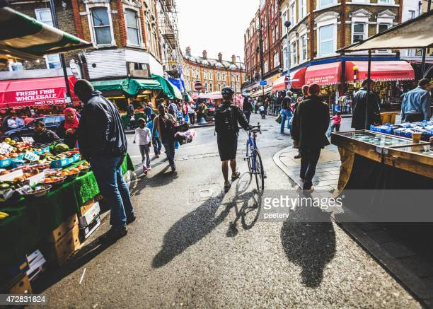 brixton street market. - brixton stock photos and pictures