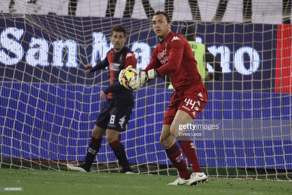 Brkic Zeljko of Cagliari in action during the Serie A match between Cagliari Calcio and US Sassuolo Calcio at Stadio Sant'Elia on January 24, 2015 in Cagliari, Italy.