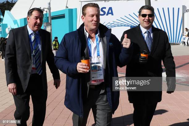 Broacasters Mike Milbury Jeremy Roenick and Keith Jones are seen prior to the Men's Ice Hockey Preliminary Round Group A game on day eight of the...