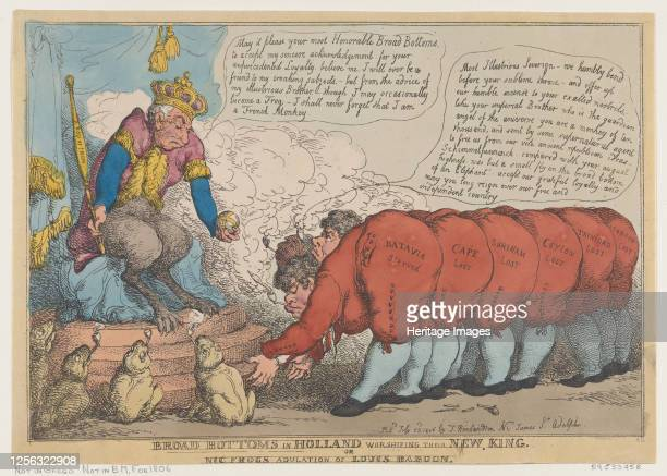 Broad Bottoms in Holland Worshiping Their New King, July 23, 1806. Artist Thomas Rowlandson.