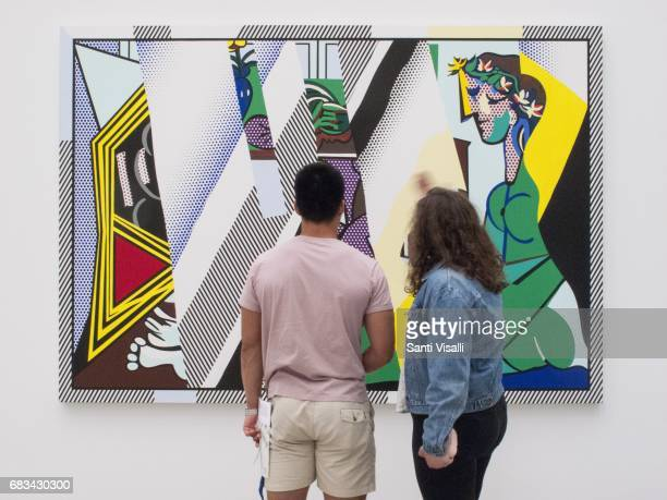Broad Museum Reflection on interior with girl drawing by Roy Lichtenstein on May 5 2017 in Los Angeles California