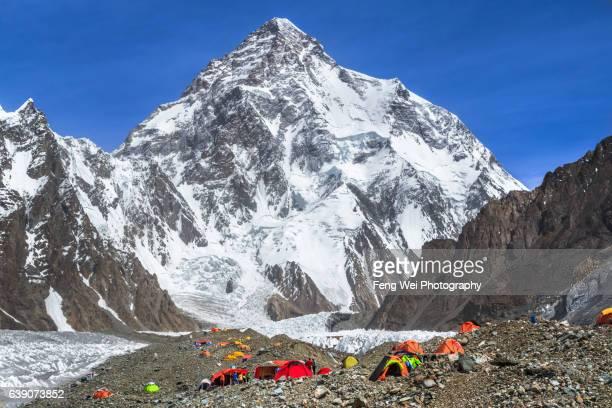 broad peak base camp & k2, central karakoram national park, gilgit-baltistan, pakistan - k2 mountain stock pictures, royalty-free photos & images