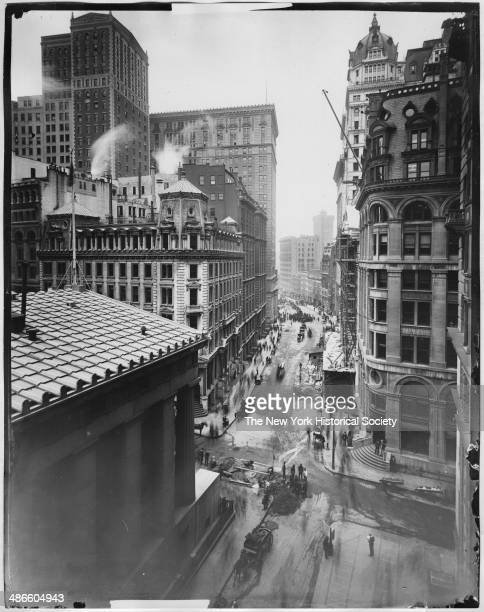 Broad Street north of Wall Street looking south New York New York 1895 Subtreasury Building and JP Morgan partially visible Stock Exchange under...
