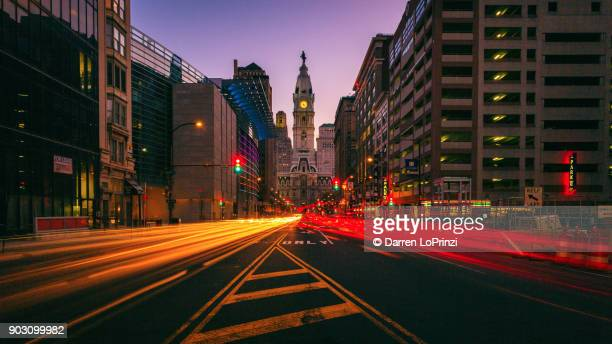 broad street shuffle - philadelphia pa - clock tower stock pictures, royalty-free photos & images