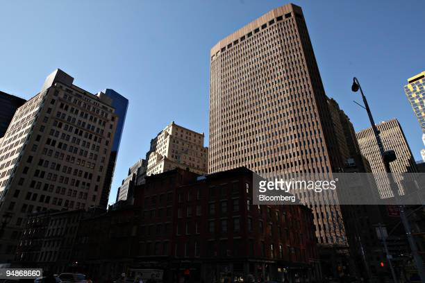 Broad Street the headquarters of Goldman Sachs Group Inc right stands in New York US on Monday March 17 2008 Goldman will report quarterly earnings...
