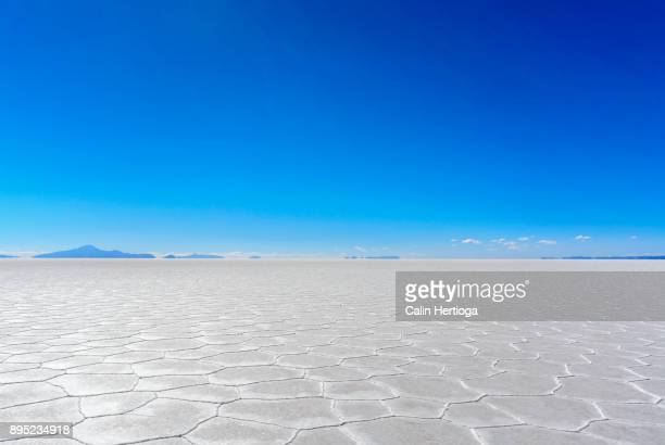 broad white salt flats under blue sky - zoutvlakte stockfoto's en -beelden