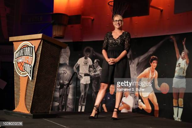Broadaster Doris Burke poses for a photo at the BunnGowdy Awards Dinner as part of the 2018 Basketball Hall of Fame Enshrinement Ceremony on...