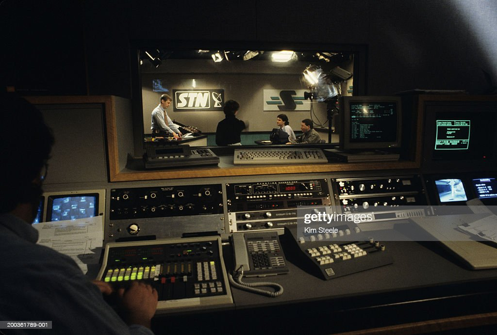 Broadcast Control Room; video conferencing : Stock Photo