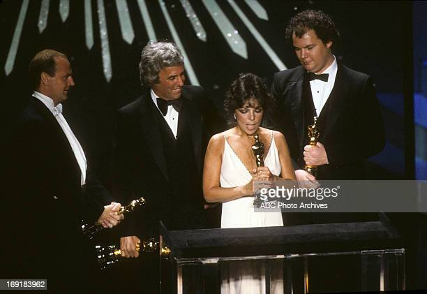 March 29 1982 LR PETER ALLEN BURT BACHARACH CAROLE BAYER SAGER AND CHRISTOPHER CROSS BEST ORIGINAL SONG WINNERS FOR ARTHUR'S THEME