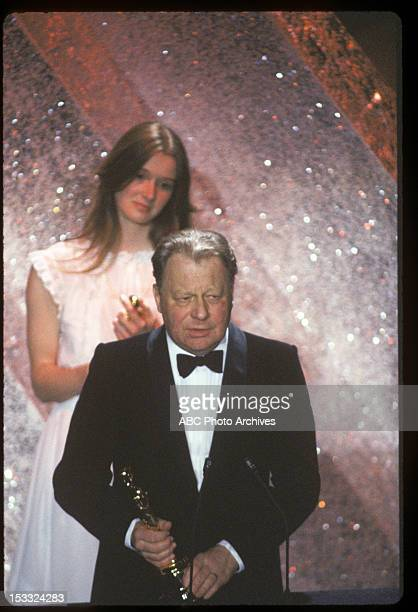 March 31 1981 BEST CINEMATOGRAPHY WINNER GHISLAIN CLOQUET WITH JACKIE UNSWORTH ACCEPTING FOR HER FATHER POSTHUMOUS WINNER GEOFFREY UNSWORTH FOR 'TESS'