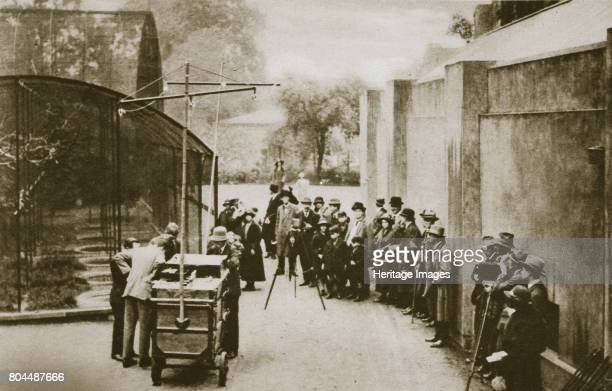BBC broadcast from the aviary at London Zoo 20th century Officials of the British Broadcasting Corporation preparing to broadcast sounds from the...