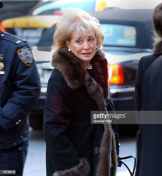 Broadcast journalist Barbara Walters attends the funeral of former ABC News Chairman Roone Arledge December 9 2002 in New York City Arledge who built...