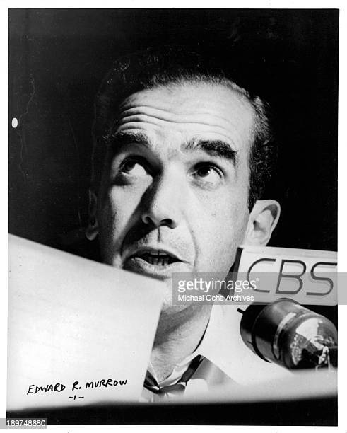 Broadcast journalist Edward R Murrow poses for a portrait in circa 1955