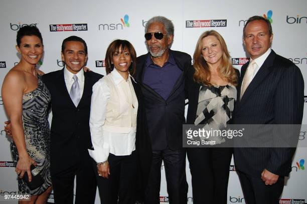 Broadcast journalist Lu Parker Los Angeles Mayor Antonio Villaraigosa Morgana Freeman actor Morgan Freeman producer Lori McCreary and Publisher of...