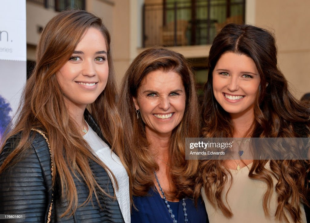 Broadcast journalist Maria Shriver (C) and her daughters Christina Schwarzenegger (L) and Katherine Schwarzenegger (R) attend the Team Maria benefit for Best Buddies at Montage Beverly Hills on August 18, 2013 in Beverly Hills, California.