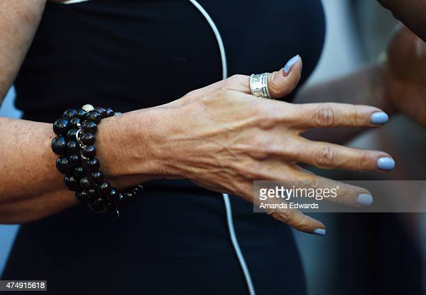 Broadcast journalist Maria Shriver jewelry and manicure detail arrives at the 8th Annual Television Academy Honors at the Montage Beverly Hills on...