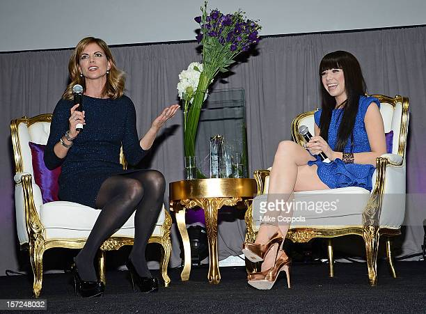 Broadcast journalist Natalie Morale interviews Carly Rae Jepsen at the 2012 Billboard Women In Music Luncheon at Capitale on November 30 2012 in New...